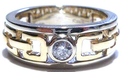 Effy 14K White & Yellow Gold Anchor Cable Link .25Ct Diamond Solitaire Ring