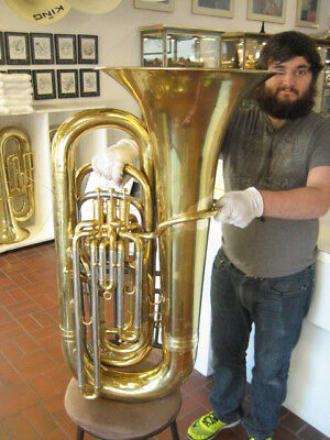 FINE ENGLISH BESSON 4-VALVE CONCERT BBb TUBA, GOOD VALVES, MOST DENTS REMOVED
