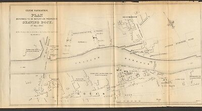 1854  Antique Map - Clyde Docks, Glasgow-Plan For Graving Dock