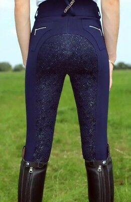 Chill out Navy Breeches Size 26/8 Silicone Sticky Bum High Waisted BNWOT