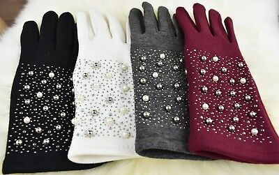Women's Winter Ladies Elegant Shining Pearls, Diamante Touch Finger Warm Gloves