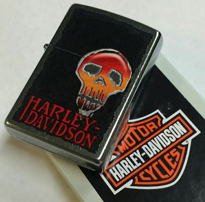 Zippo Lighter Harley Davidson Skull Street Chrome Finish RARE.. NEW IN BOX 2014