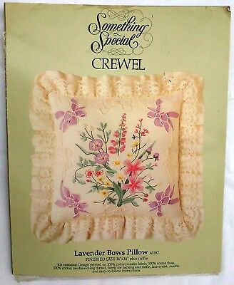 DMC - Lavender Bows - crewel embroidery kit - pillow - Something Special -RETRO