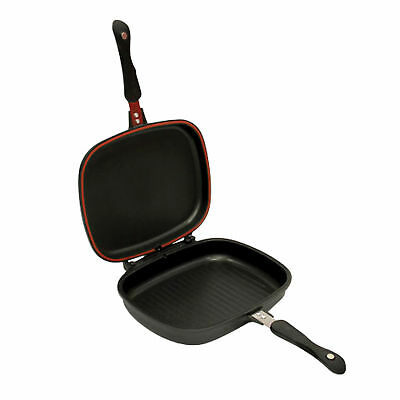 32cm DIE-CAST DOUBLE SIDED GRILL FRYING MAGIC PAN FOLDABLE FLIPPING GRILL BLACK