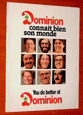 French 1979 Dominion Grocery Stores Canadian Ad + Maple Leaf Wieners On Back