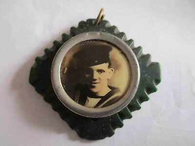 WW1 Miniature Portrait Photo in frame of Royal Navy Sailor.