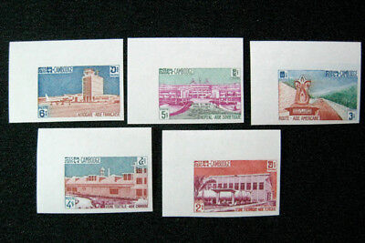 Cambodia, 1962, buildings, stamps, imperforate, MNH