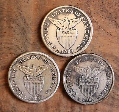 1907 S & 1908 S US One Peso Filipinas Large Silver Coin Lot Of 3 Coins