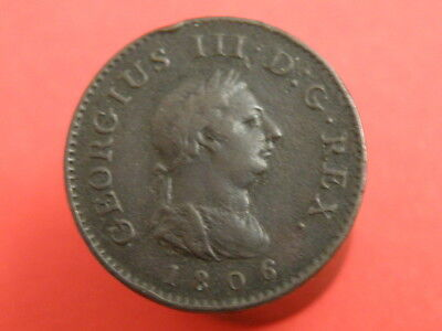 1806 KING GEORGE III - Laureate Head Portrait -  FARTHING COIN