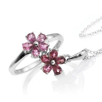 Morro Redondo Pink Tourmaline Platinum Over Sterling Silver Floral Ring (Size 5)