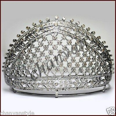 Victorian Vintage Reproduction Rose Cut Diamond Sterling Silver Tiara Crown CVS