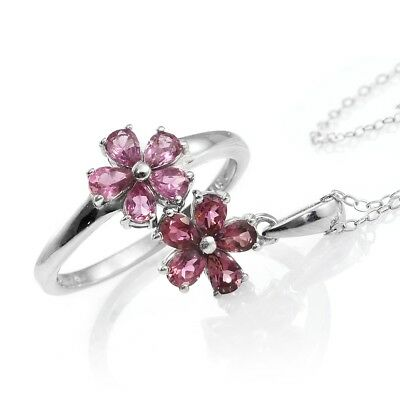 Morro Redondo Pink Tourmaline Platinum Over Sterling Silver Floral Ring (Size 7)