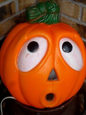 Halloween Two Sided Scary/happy Pumpkin Plastic Lighted Blow Mold  Next Day Ship