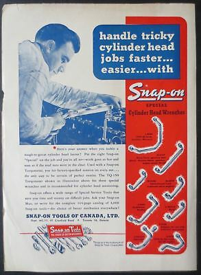 1954 Snap-on Tools of Canada Cylinder Head Wrenches Vintage Magazine Ad