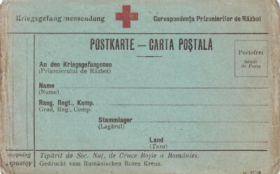 1916 Romania, Prisoners of War free postage postcard, WW1 Red Cross POW