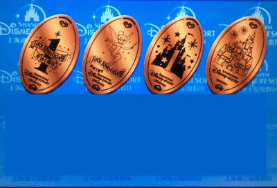 4pc First Anniversary S2 Pressed pennies penny coin SHANGHAI DISNEY DISNEYLAND