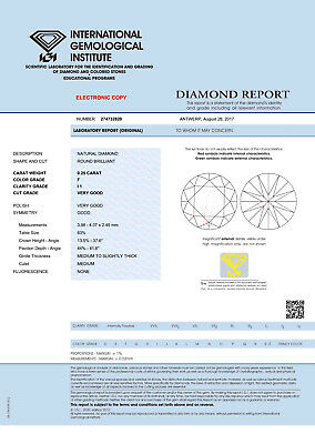 DIAMANT 0.25ct Brillant I1 Top Wesselton (F) IGI