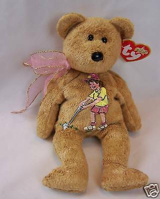 Handpainted Lady Golfer on Ty Beanie Bear Named Cashew