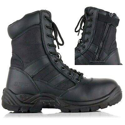 Mens Leather Waterproof Lightweight Police Military Safety Toe Cap Work Boots Sz