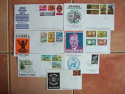 ZAMBIA 1970-72 7 x DIFFERENT COMMEMORATIVE FIRST DAY COVERS
