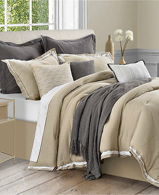 Sunham Stafford Cotton/Linen 7 Pc CAL KING Comforter Set KHAKI Bedding 10 E703