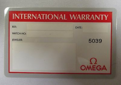 OMEGA Blank & Open NOS International Warranty Card with Dealer/Source Code Only