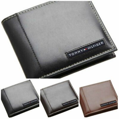 Tommy Hilfiger Men's Bifold Leather Ranger Passcase Wallet Black, Brown, Tan