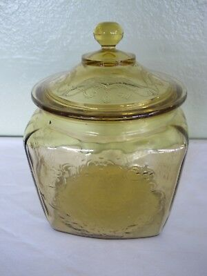 Federal Depression Glass Amber Madrid Cookie Jar And Lid
