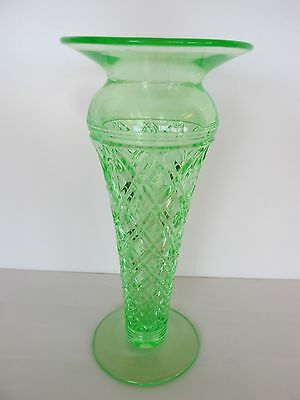 "ELEGANT VASELINE 11"" DEPRESSION GREEN QUILTED DIAMOND VASE w CRYSTAL APPLIED TOP"