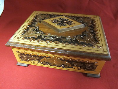 Vintage Matthey Music Jewelry Box Inlaid Marquetry Wood Italy Isola di Capri