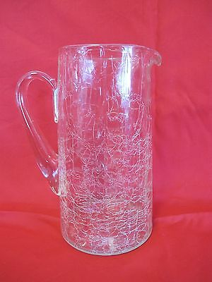 "ANTIQUE CRYSTAL 8 1/2 "" CRACKLE PANELED GLASS WHISKEY PITCHER  w/ APPLIED HANDLE"