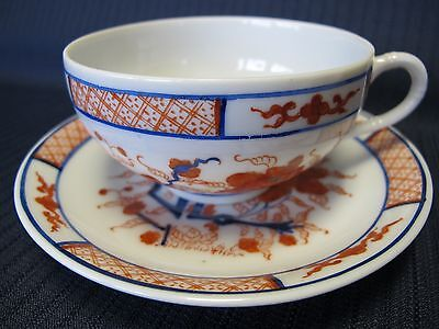 """Vintage Chinese Hand Painted Fine Bone China """"red Poppy Teacup+Saucer"""
