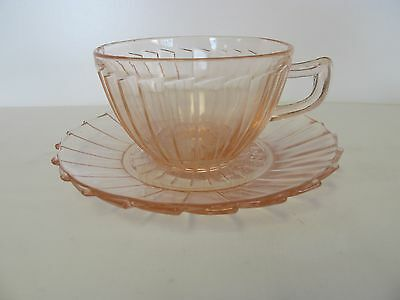 JEANETTE SIERRA/PINWHEEL DEPRESSION PINK CUP AND SAUCER c.1931-1933
