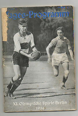 Orig.PRG   Olympic Games BERLIN 1936 - 12.08. Handball / Swimming / Boxing /..!!