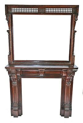 Salvaged Chicago Solid Carved Cherry Wood Interior Residential Fireplace Mantel