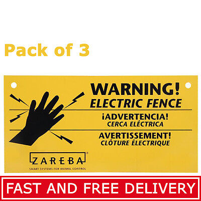 Electric Fence Warning Sign 3-Pack Yellow Outdoor Farms Animals Fencing Signs