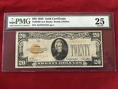 FR-2402  1928 Series $20 Twenty Dollar Gold Certificate *PMG 25 Very Fine*