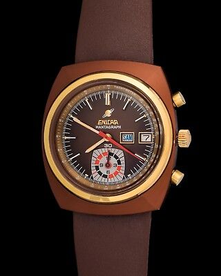 Vintage Enicar Mantagraph Day-Date In Brown Steel Pvd Coating New Old Stock