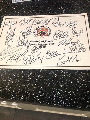 Castleford Tigers Signed A 4 Sheet 2009 C.o.a