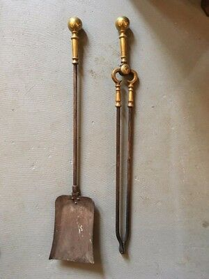 Antique Pair of English Brass and Steel Fireplace Tongs and Shovel 19th Century