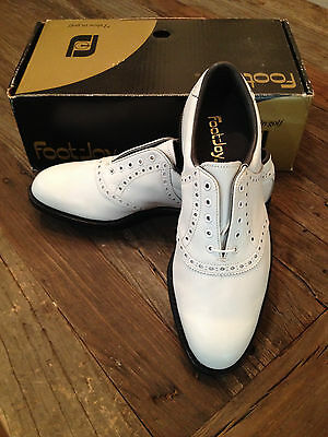 FootJoy - Classic Golf Shoes - 8.5 D - White on White Premium Calfskin Leather