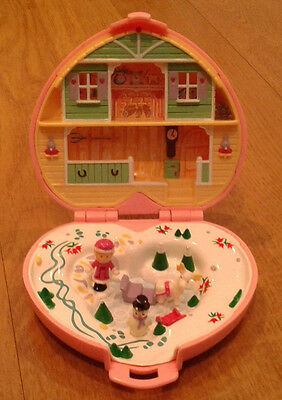 Polly Pocket Compact Vintage 1989 Heidi's Alpine Chalet Near Complete Pink Heart