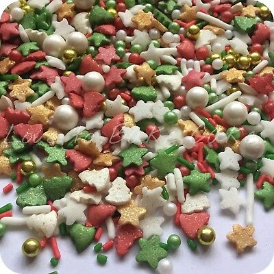 CHRISTMAS MEGA MIX Edible Sugar Christmas Cupcake Sprinkles Cake Decoration