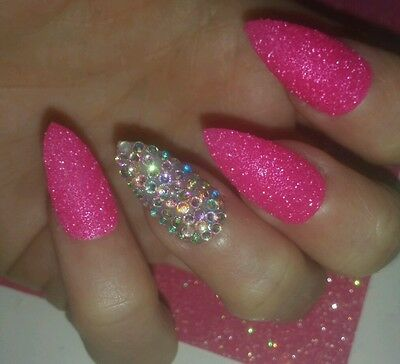 ULTIMATE PARTY PINK Glitter & AB Crystal Stiletto Nails x 20