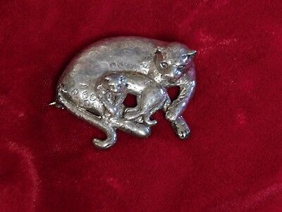 Sterling Silver Dimensional Cheetah Mother Baby Pin Huge Solid Southwest