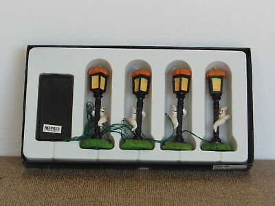 Creepy Hollow NEW Set of 4 Halloween Light posts with Ghost Pumpkin Midwest NIB
