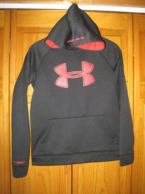 Under Armour Storm1 Cold Gear hoodie sweatshirt YLG L black red exercise fitness