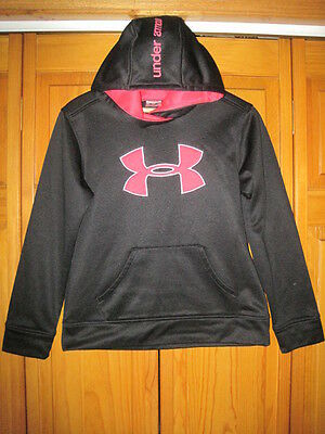 Under Armour Storm Cold Gear hoodie sweatshirt girls YLG L black pink