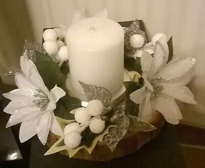 christmas table centrepiece silver and white ( hand crafted)