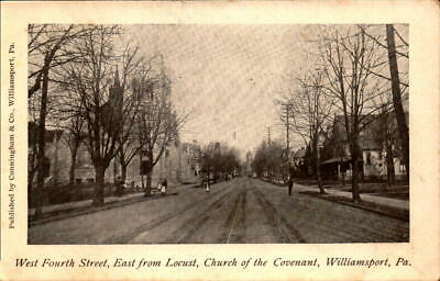 Postcard West Fourth Street Locust Church of Covenant Williamsport PA